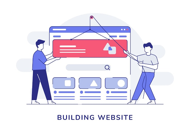 Building website character collaboration programmer developer pulley ui wireframe with outline style
