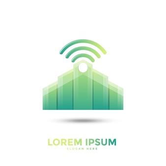 Шаблон логотипа building wifi