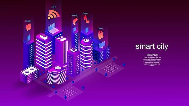 똑똑한 도시의 요소로 건물. 과학, 미래, 웹, 네트워크 개념, 통신, 첨단 기술.