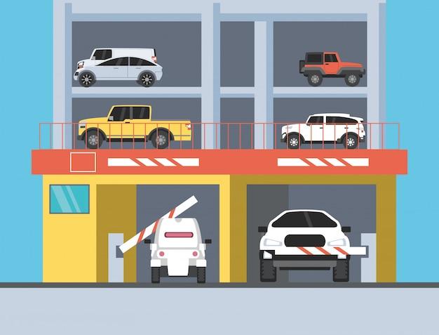 駐車場とバリケードの入り口がある建物