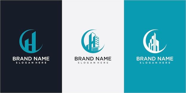 文字hのロゴデザインで構築。月のロゴデザインコンセプトで建物h