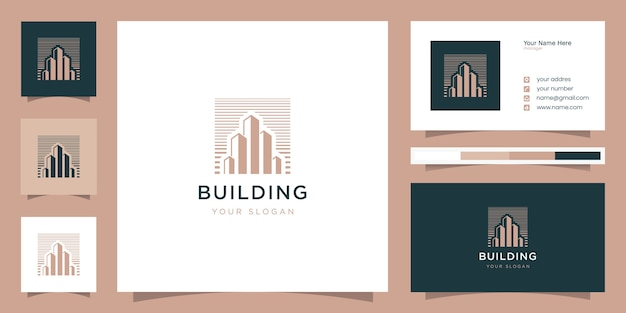 Building with line art style logo and business card