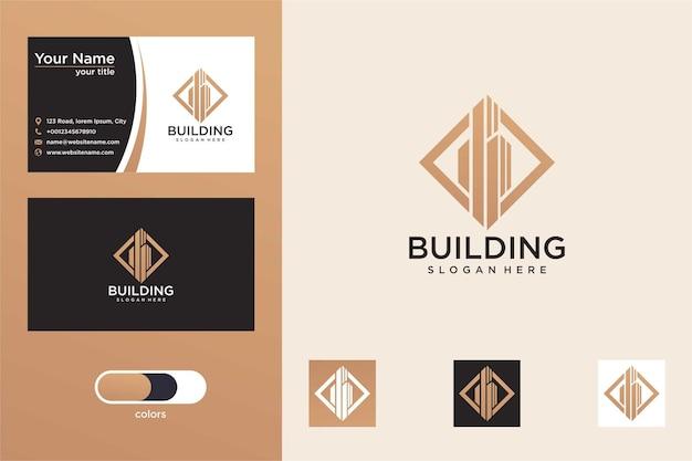현대적인 삼각형 로고 디자인과 명함이 있는 건물