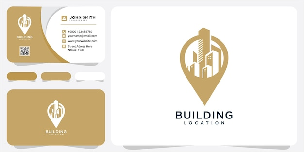 Building with point location symbol logo design template. building location logo design inspiration