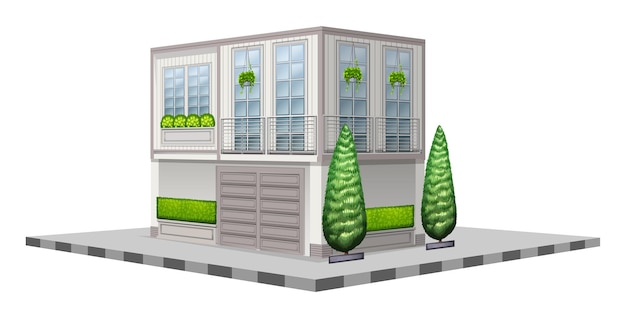 Building with poted plants