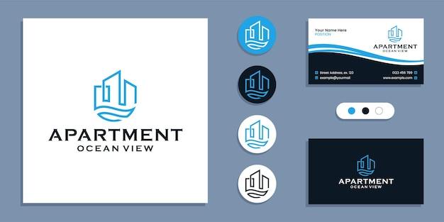 Дом с видом на море, квартира с видом на океан, логотипом и вдохновением для шаблона дизайна визитной карточки
