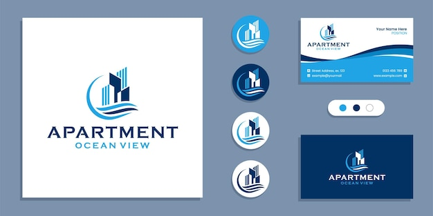 Building with sea, apartment ocean view logo and business card design template inspiration
