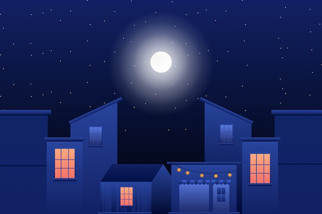 Building with starry night sky illustration