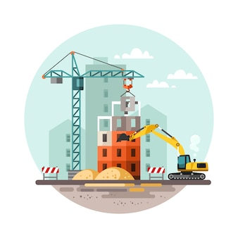 Building work process with houses and construction machines