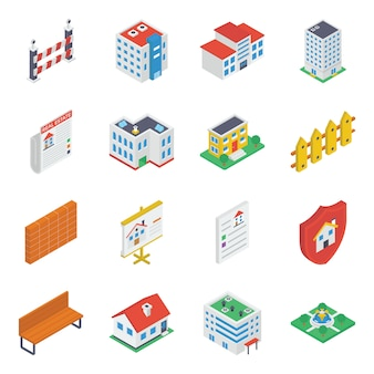 Buildings accessories isometric icons pack