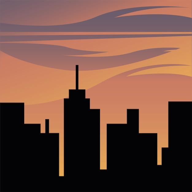 建物とオレンジ色の空のイラスト