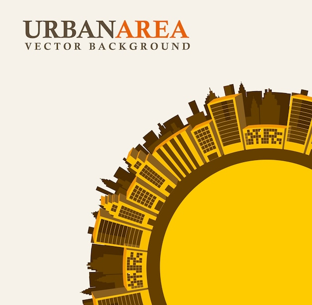 Buildings over  beige background close up vector illustration