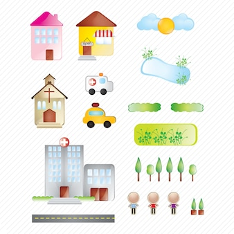 Buildings and city collection of icons on white background