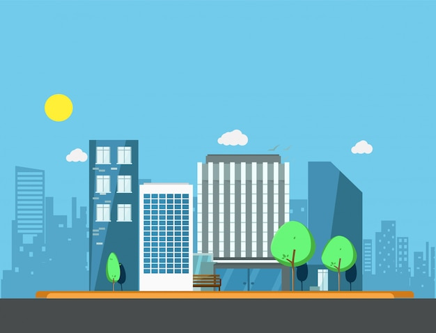 Buildings in city illustration