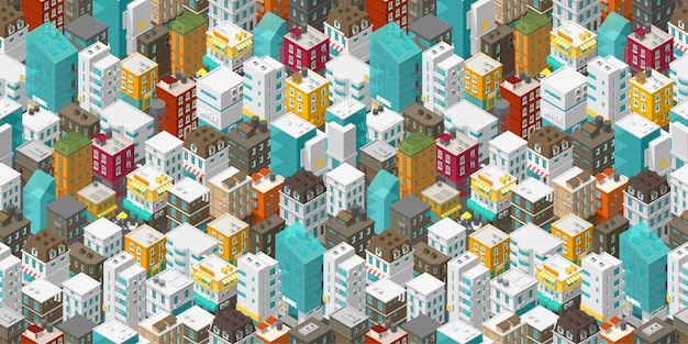 Buildings city seamless pattern. isometric top view. vector town city street.