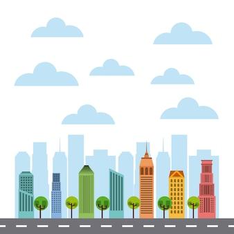Buildings cityscape skyline icon