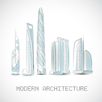 Buildings collection of modern skyscrapers Free Vector
