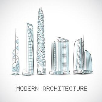 Коллекция зданий современных небоскребов