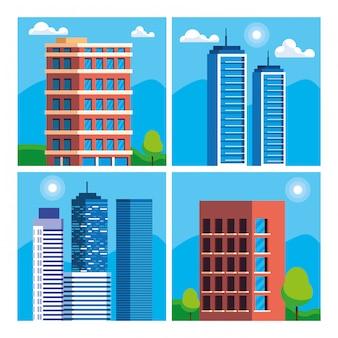 Buildings construction cityscape scene