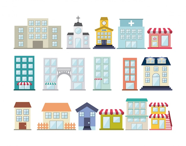 Buildings design over white background vector illustration
