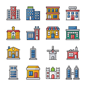 Buildings flat icons pack
