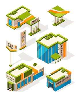 Buildings of gas service. exterior of fuel station constructions. isometric pictures set