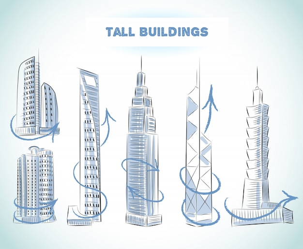 Buildings icons set of modern skyscrapers isolated sketch
