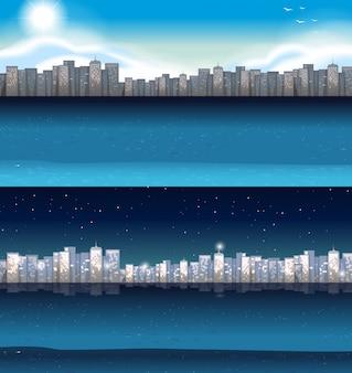 낮과 밤에 도시에있는 건물