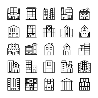 Buildings, landmarks line icons