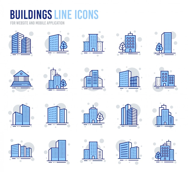 Buildings line icons. bank, hotel, courthouse. city architecture, skyscraper building.