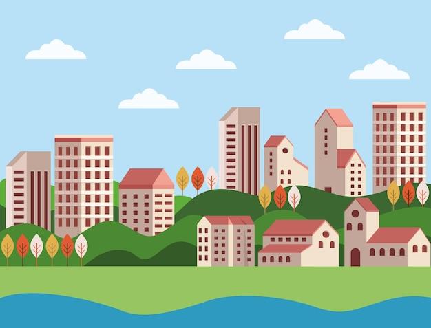Минималистичная сцена городского пейзажа зданий