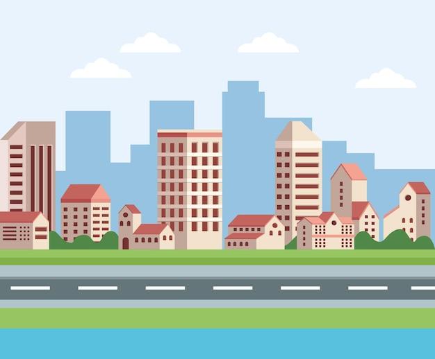 Buildings and road cityscape scene