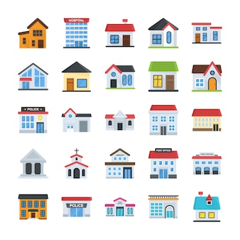 Buildings set in flat style