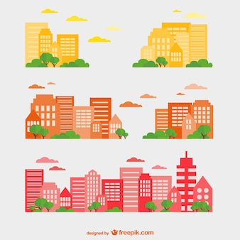 Buildings set in yellow, red and orange