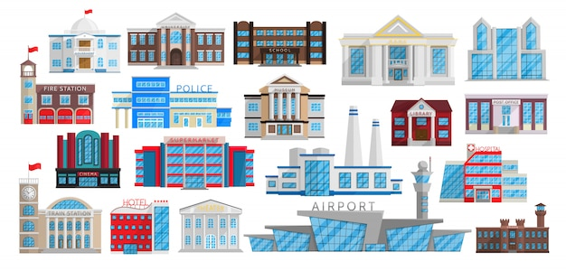 Buildings set isolated in flat style.