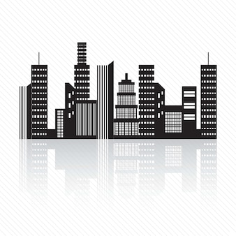 Buildings silhouette on white background vector illustration