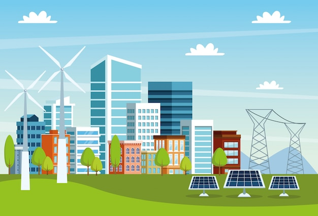Buildings and solar panels cityscape scene