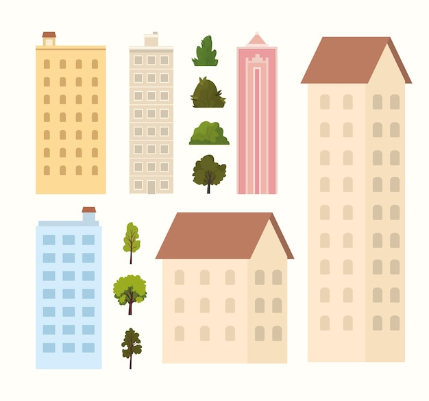 Buildings, trees and bushes on a white background  illustration
