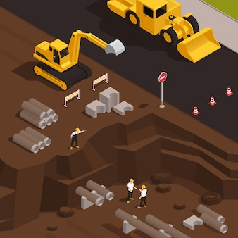 Buildings water supply system isometric composition with bulldozer excavator digging trenches for water pipes installation illustration