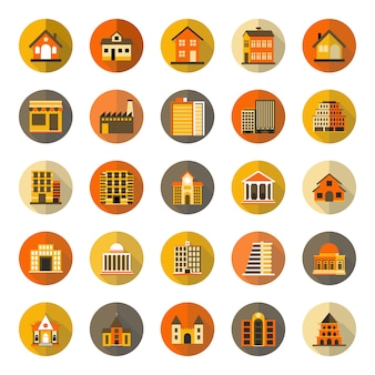 Buildings with long shadow icon set