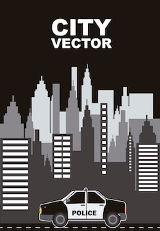 Buildings with police car city vector vector illustration