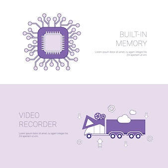 Built in memory and video recorder concept template banner