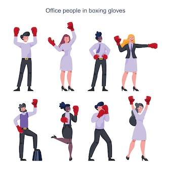 Люди покупают красные боксерские перчатки. женские и мужские персонажи в позе сильного победителя. улыбка делового работника. успешный сотрудник, конкуренция.