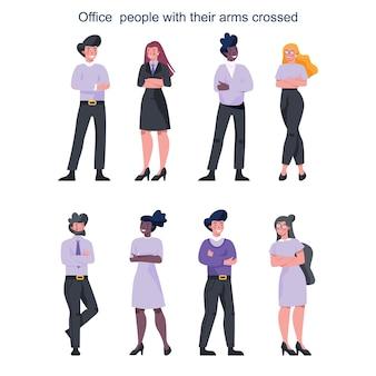 Люди покупают скрестив руки. женские и мужские персонажи, оставаясь в уверенной позе. улыбка делового работника. успешный сотрудник, достижение.