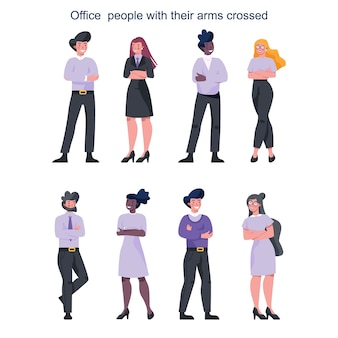 Buiness people with their arm crossed. female and male characters staying in confident pose. business worker smile. successful employee, achievement .