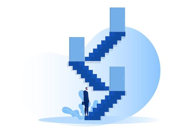 階段を見て、新しい成功した人生の扉を開いたbuinessman。図