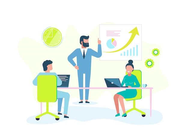Концепция бизнеса. иллюстрация бизнеса, инфографика исследования работы офиса, анализ масштаба развития Premium векторы