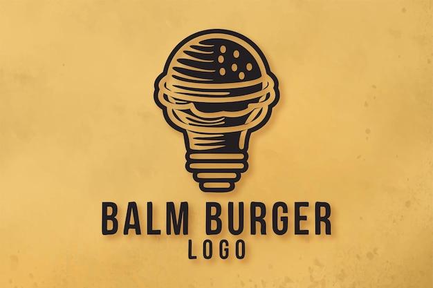電球とハンバーガー、ファーストフードのアイデアのロゴのデザイン