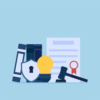 Лампочка и свидетельство закона для интеллектуальной собственности плоской концептуальной иллюстрации.