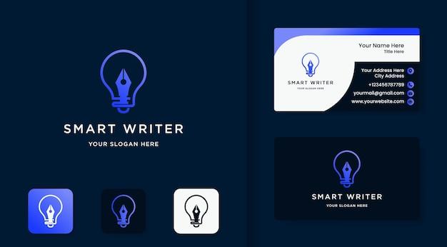 전구와 펜 조합 로고와 명함 디자인